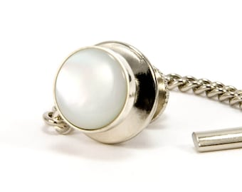 Mens Tie Tack | Mother of Pearl Tie Tack | Sterling Silver MOP Tie Tac | Gift For Him | Gift For Dad | Mens Jewelry | Anniversary Gift