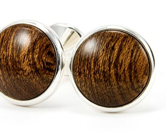 Wood Cufflinks Wooden Cuff Links African Mahogany Silver Cufflinks Gift For Men Mens Jewelry Gift For Him Wedding Cufflinks Groomsmen Gifts