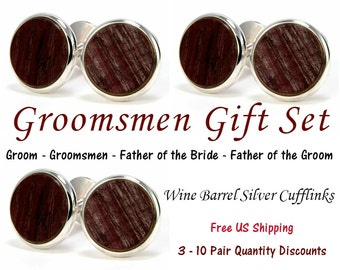 Wine Barrel Wood Cufflinks Wedding Cufflinks Groomsmen Gifts  Silver Cuff Links Wedding Party Gift For Groom Wine Barrel Gift For Men