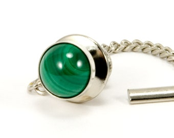 Mens Tie Tack / Lapel Pin, Sterling Silver Malachite Tie Tac For Him, Mens Jewelry Gift For Dad, Anniversary Gift For Husband or Boyfriend