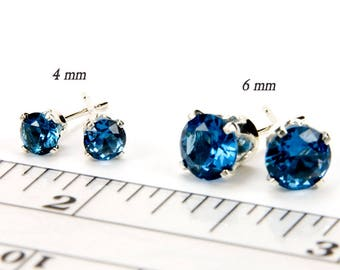 December Birthstone Earrings Blue Zircon Sterling Silver Earrings Bridesmaid Gift For Her Birthstone Stud Earrings Birthstone Jewelry 4/6mm