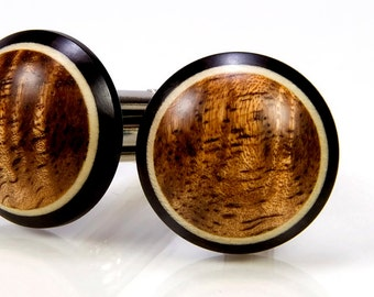 Wooden Cufflinks Gift For Men Wood Cuff Links Figured Hawaiian Koa Ebony Holly 5th Anniversary Gift For Him Wedding Party Gift For Groomsmen