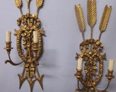 Vintage Antique Pair Italian Gold Gilt Wall Sconce Lights 38 quot by 10 1 4 quot