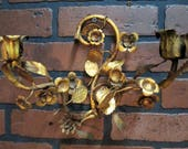 Vintage Antique Italian Tole Gold Gilt Wall Sconce Candle Sconce 8 3 4 quot Tall by 10 1 2 quot Wide