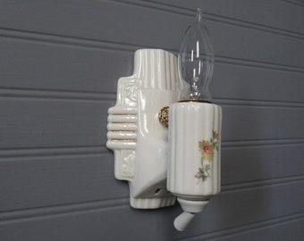 Vintage Art déco salle de bain mur Floral applique vanité en   Etsy