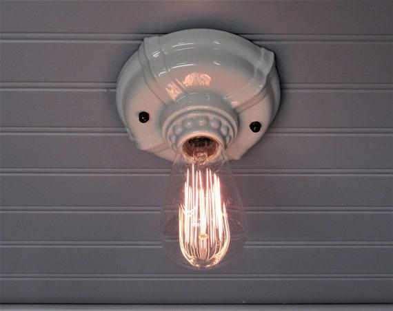 Vintage Art Deco 4 Bulb Porcelain Ceiling Light Fixture