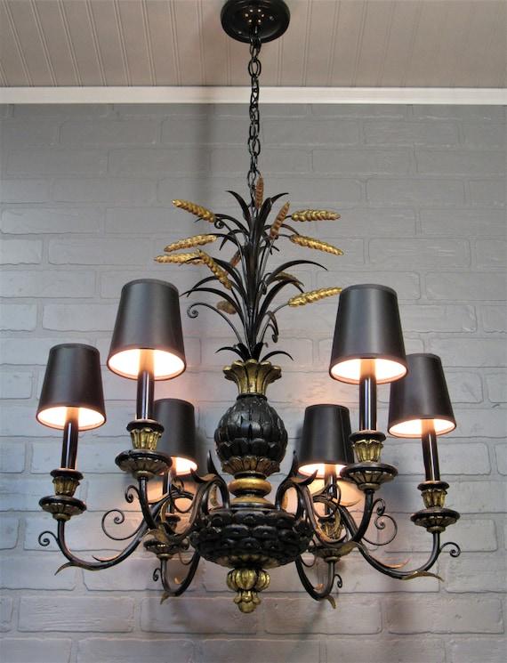 on sale 229c2 571b4 Vintage Antique 1930's Chandelier Pendant Light 6 Light Black and Gold  Italian Gold Gilt Pineapple Chandelier
