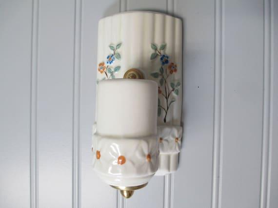 Vintage Art Déco Salle De Bain Mur Floral Applique Vanité En | Etsy