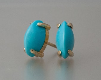 Turquoise Marquise Prong Studs in 14k Gold, 8x4mm Earrings | made to order in yellow rose or white gold