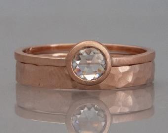 VS Rose Cut Diamond Engagement Ring and Wedding Band Bridal Set in 14k Gold