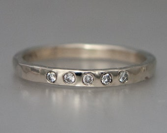 Quarter Eternity Diamond Ring | Classic heavy 2mm half round 14k gold band in Rose, Yellow or White Gold