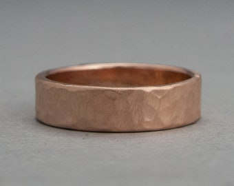 5mm Wide Hammered Wedding Band in Solid 14k White, Rose or Yellow Gold