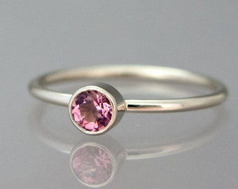 Personalized Birthstone Stacking Ring in 14k Gold | Valentine, Birthday or Mother's Day ring in 14k yellow, rose or white gold
