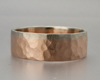 Hammered Two Tone Gold Wedding Band - 6mm 14k Rose Gold Wedding Ring with Yellow or White Gold Rail