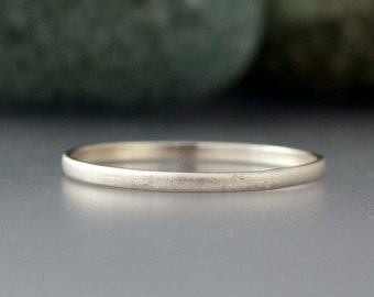 14k White Gold Thin Wedding Band - Solid gold 1.5mm half round ring
