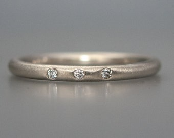 Three Diamond Gold Wedding Ring | Classic 2mm Round 14k Gold Band in Rose, Yellow or White Gold