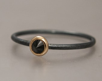 Edgy Black Spinel Spike Stacking Ring in Gold and Sterling Silver