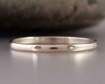 Platinum Wedding Band - Thin 1.5mm half round ring