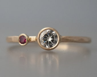 Personalized Mother and Child Ring | Two Birthstone 14k gold ring | yellow, rose or white gold