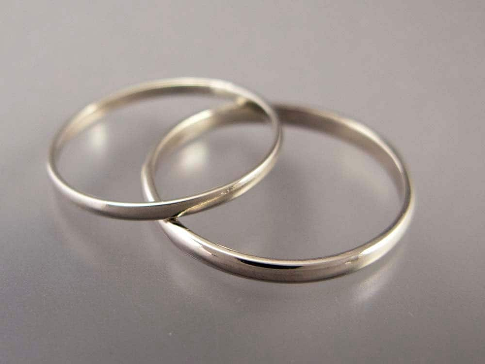 Thin White Gold Wedding Band Set 1 5 And 2mm Wide His And Etsy