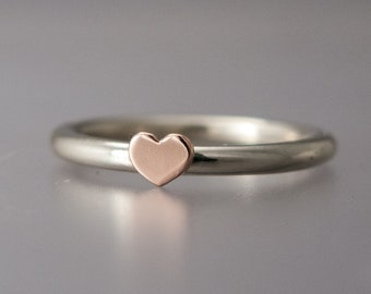 Gold Heart Stacking Ring | personalize your 14k gold colors
