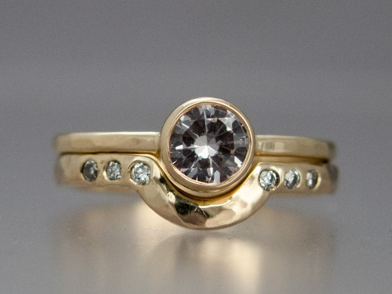 moissanite engagement ring and contour wedding band set in 14k etsy