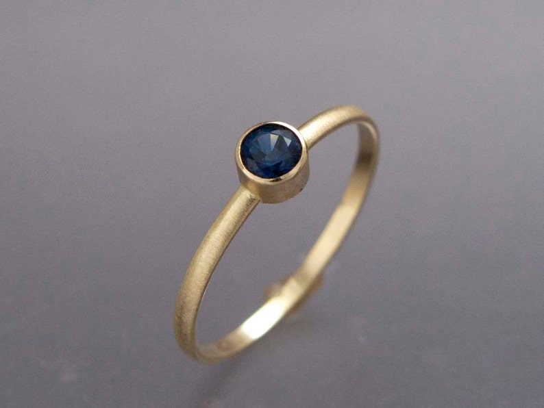 Solid 14k Gold Thin Engagement Ring with a 3.5mm Sapphire Blue Sapphire White Gold Ring