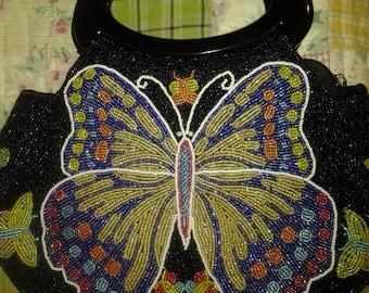 Heavy beaded butterfly handbag- Gorgeous beadwork