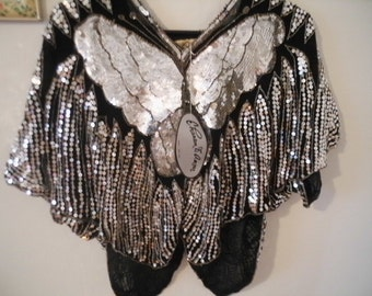 Sequined Butterfly Blouse -Disco Boho Batwing NWT new old stock