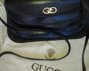 SALE Gucci Leather crossbody/pouch HandBag Black GG Logo- Amazing