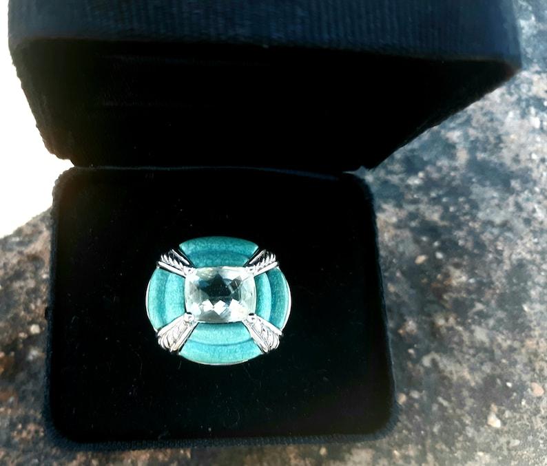 Vintage Turquoise /& Prasiolite Sterling Ring Victoria Wieck  SZ 7