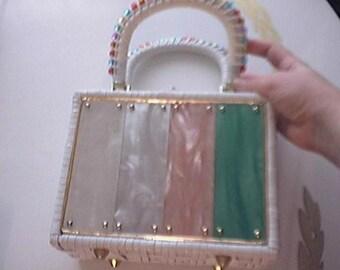 Lucite Plastic Box Purse- Adorable c. 1960s - Adorable