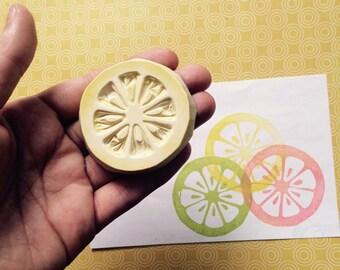 Fruity Citrus Rubber Stamp - full or half citrus, or 2 piece set - lemon, lime, grapefruit, orange, fruit