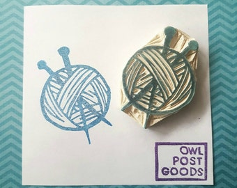 Ball of Yarn and Knitting Needles - Rubber stamp