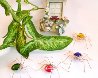 Screen Spiders B Four Small Handmade Colorful