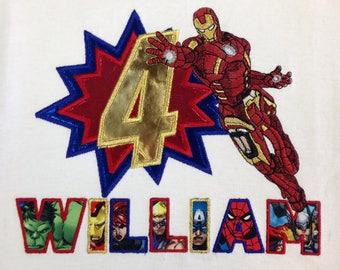 Superhero birthday shirt, Iron Man