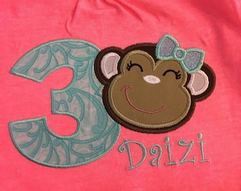 Girly Monkey Birthday Shirt