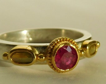 Ruby and diamond ring, sterling and 22k gold