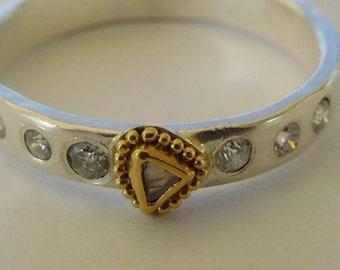 Diamond Ring, sterling silver band, 22k gold granulation