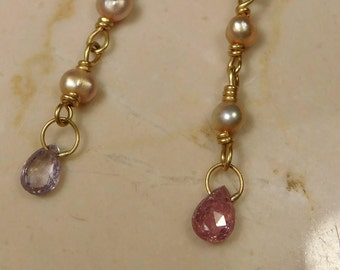 22k gold dangle earrings, sapphire briolette beads and pink pearls