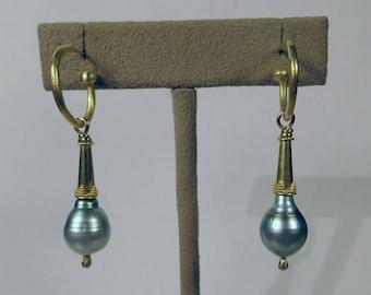 Tahitian Pearl Earrings 22k gold granulation