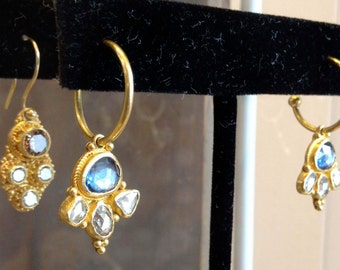 Sapphire and diamond earrings, rose cut diamond and blue sapphire in 22k Gold