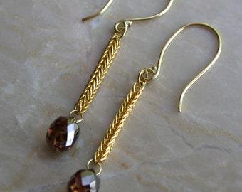 Diamond Briolette Earrings 1 plus ctw, 22k gold handmade chain