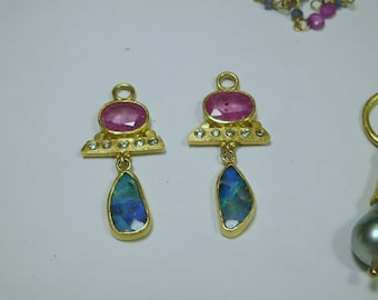 Ruby,Diamond & Opal Earrings, 22k Gold