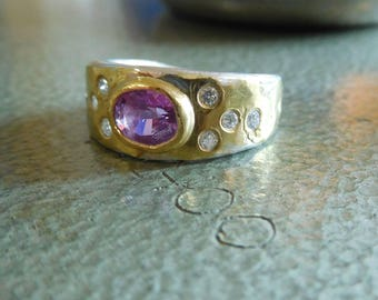 Pink Ceylon Sapphire Ring with white diamonds. Size 6 3/4. 22k Gold and Sterling Silver