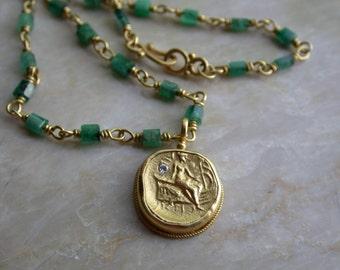 Ancient Gold coin (reproduction) , Greek Goddess Hestia