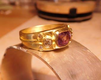 Purple Ceylon Sapphire & Diamond Ring, 22k gold.