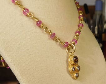 Ruby Necklace, 22k gold 18 inches