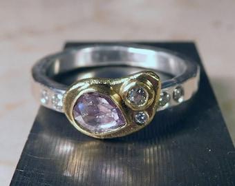 Pink rose cut Diamond Ring.  Smaller white diamonds, 22k gold, sterling silver size 8 1/4,