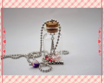 Bonjour Paris Scenery Bottle Necklace (Eiffel Tower, Charm, Pink, Red, France)